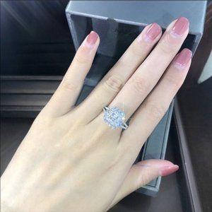 NEW💎925 Sterling Silver Diamond Halo Squar Ring